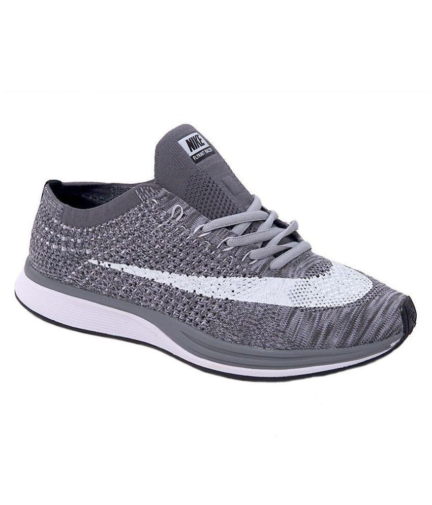 9a22ea362199 Nike FLYKNIT RACER Gray Running Shoes - Buy Nike FLYKNIT RACER Gray Running  Shoes Online at Best Prices in India on Snapdeal