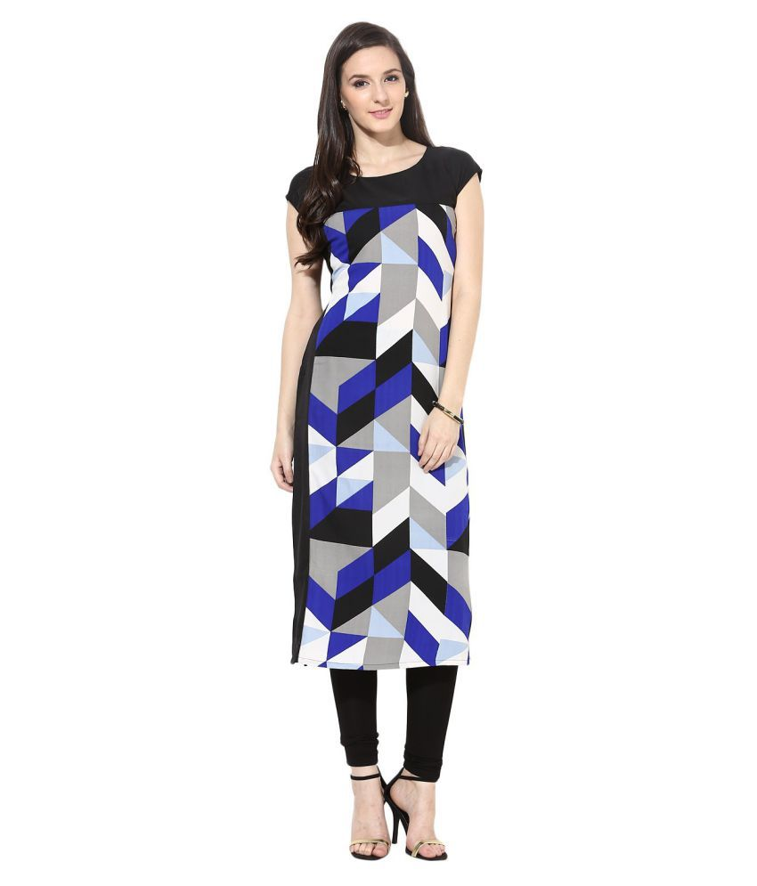 Maxi Fashion Multicoloured Crepe Straight Kurti