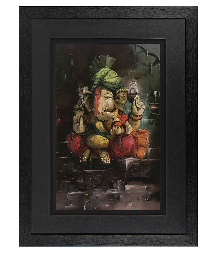 JAF Wood Lord Ganesha Art Prints With Double Frame Single Piece