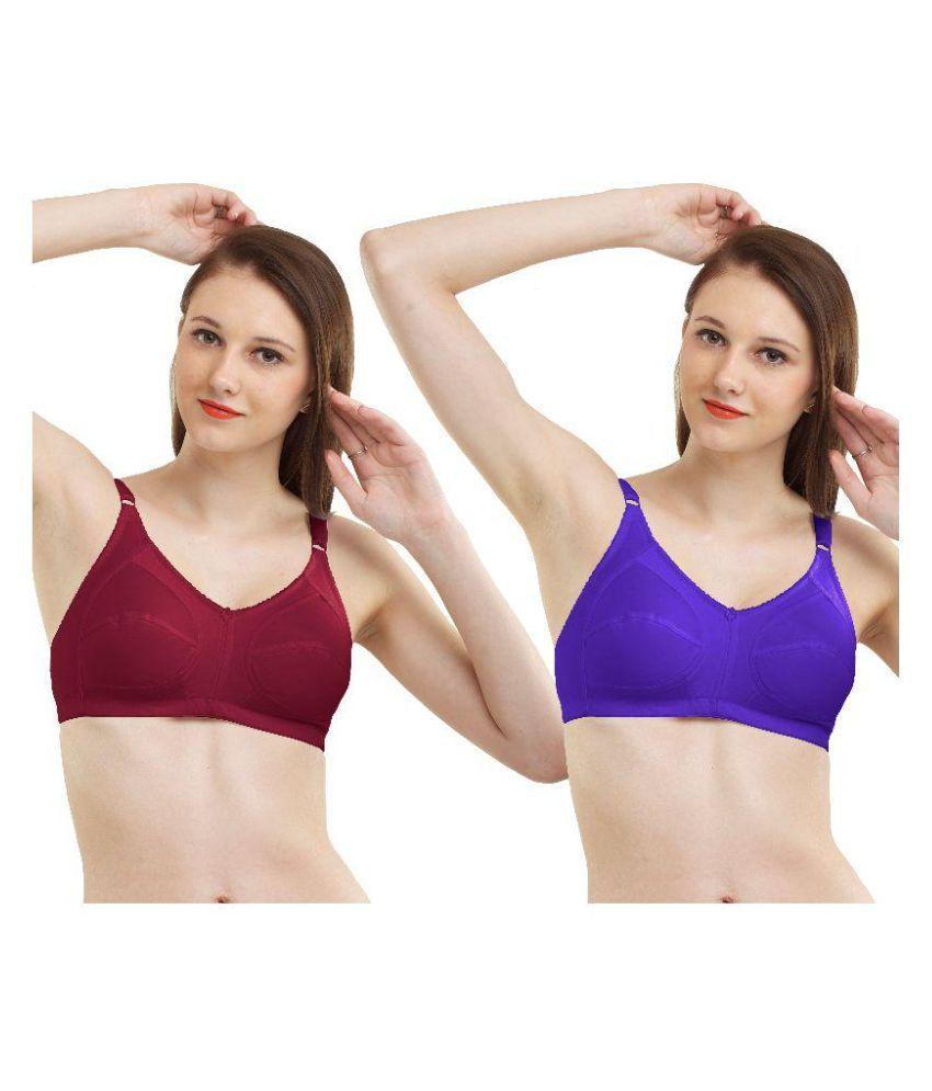 Madam Set Of 2 Women's Non-Padded Full Coverage T-Shirt Bra