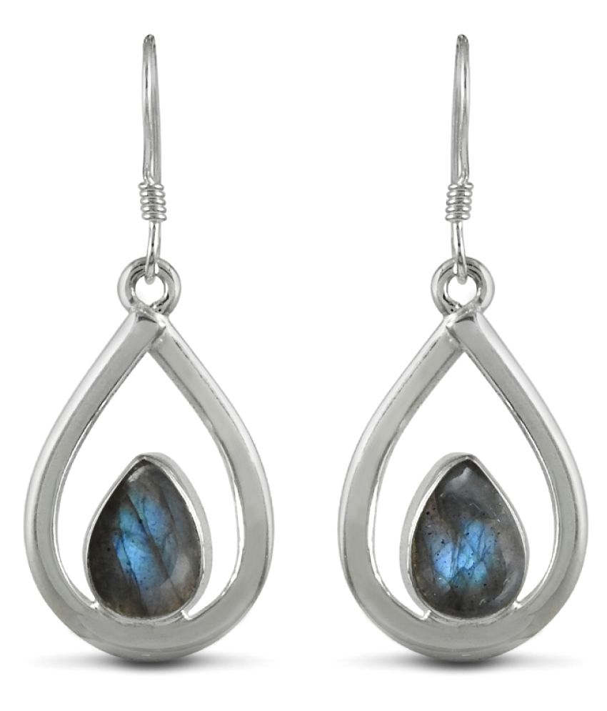 Miska Silver 92.5 Silver Labradorite Drop Earrings