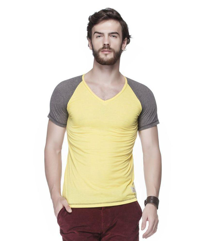 Tinted Yellow V Neck T Shirt Buy Tinted Yellow V Neck T