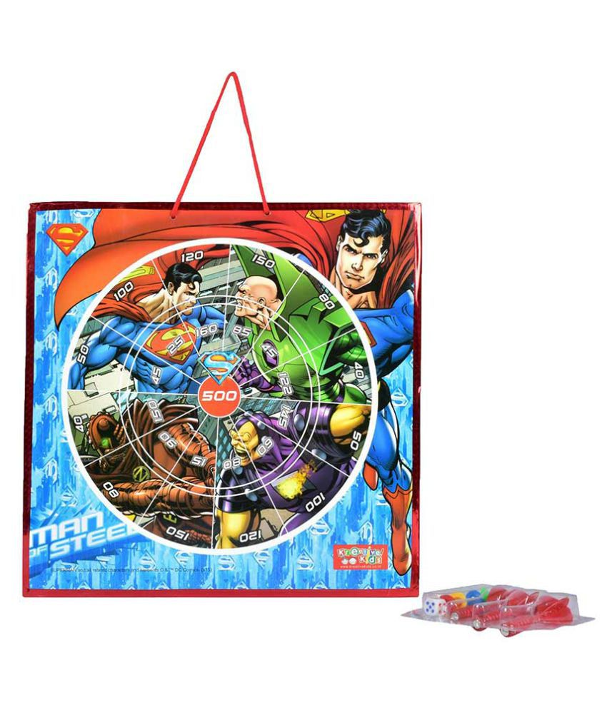 Superman 2 in 1 Magnetic Dart Board, Slides & Ladders Game