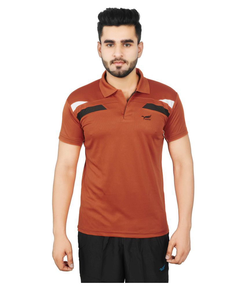 NNN Brown Polyester T-Shirt