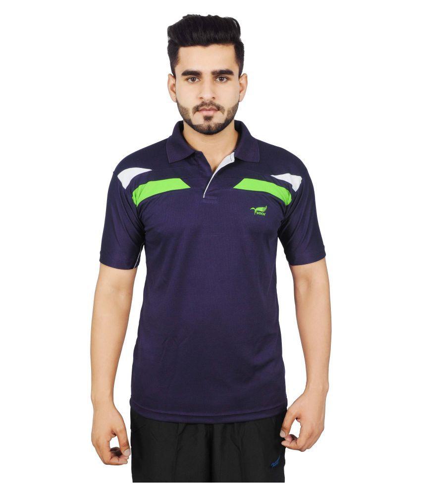 NNN Navy Polyester Polo T-Shirt
