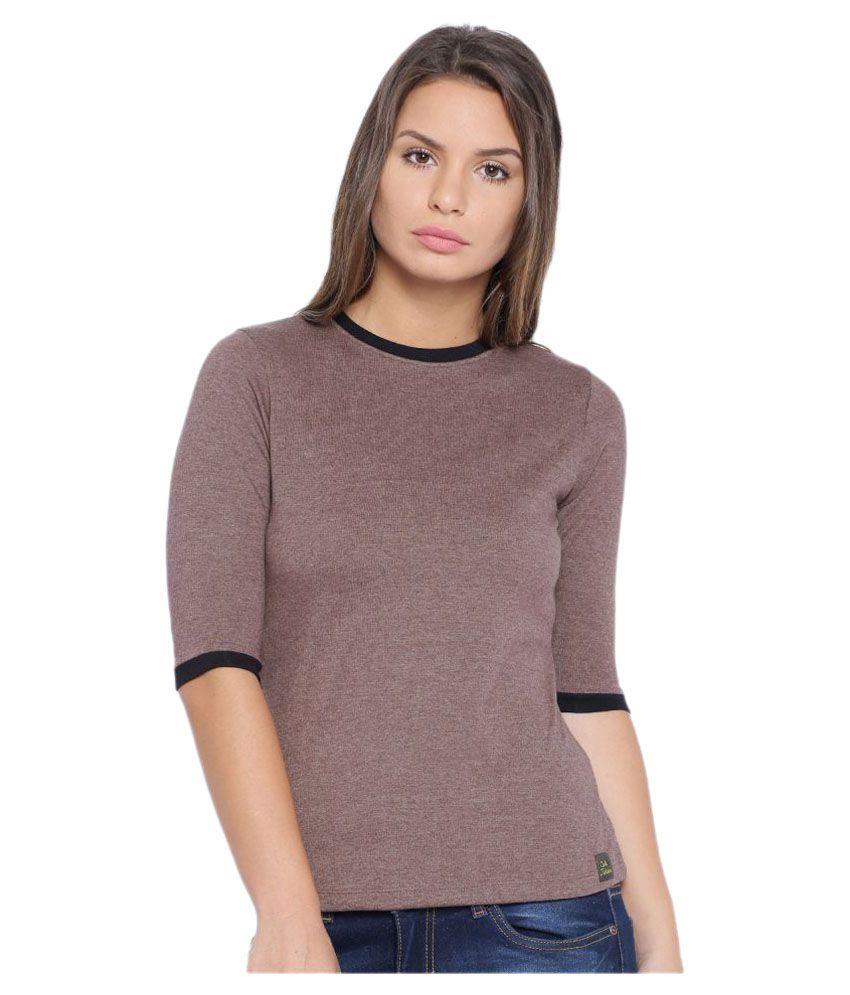 Buy cult fiction brown cotton t shirts online at best for Best place to buy t shirts online