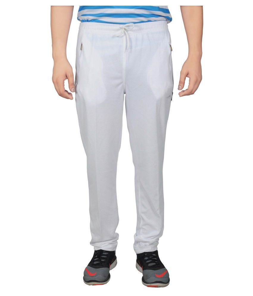 NNN White Polyester Trackpants
