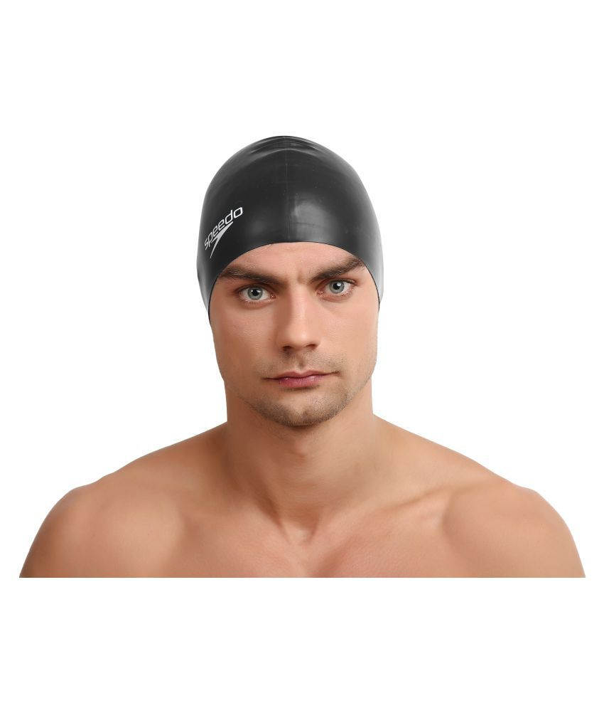 Speedo Adult Black Silicone Swimming Cap L