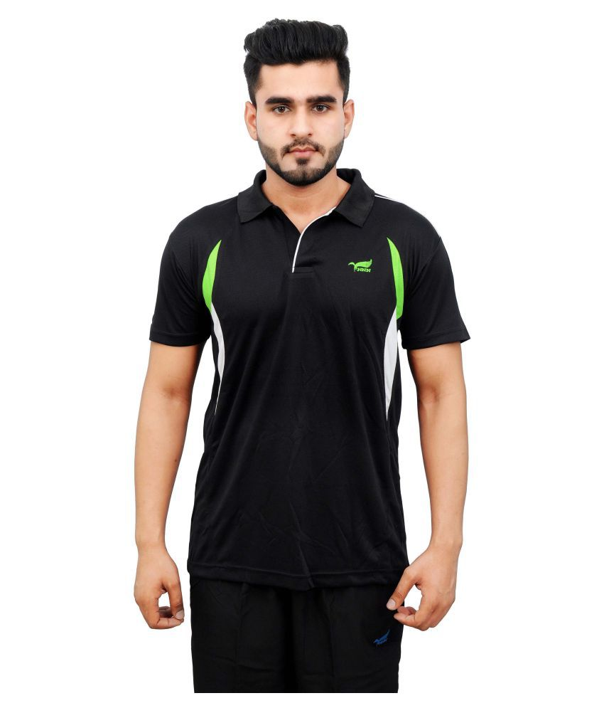 NNN Black Polyester Polo T-Shirt
