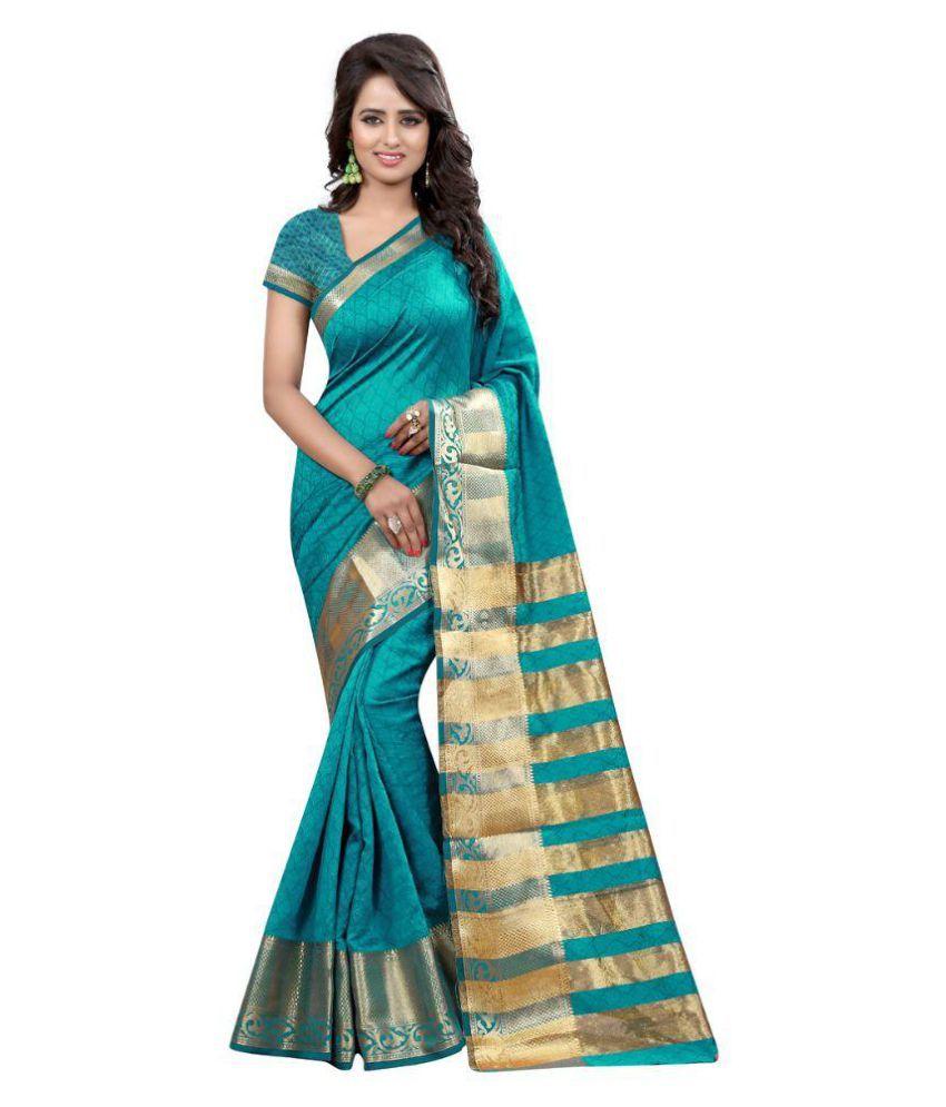 Fashions World Sea Green Art Silk Saree