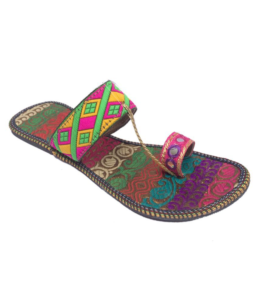Indcrown Multi Color Platforms Ethnic Footwear