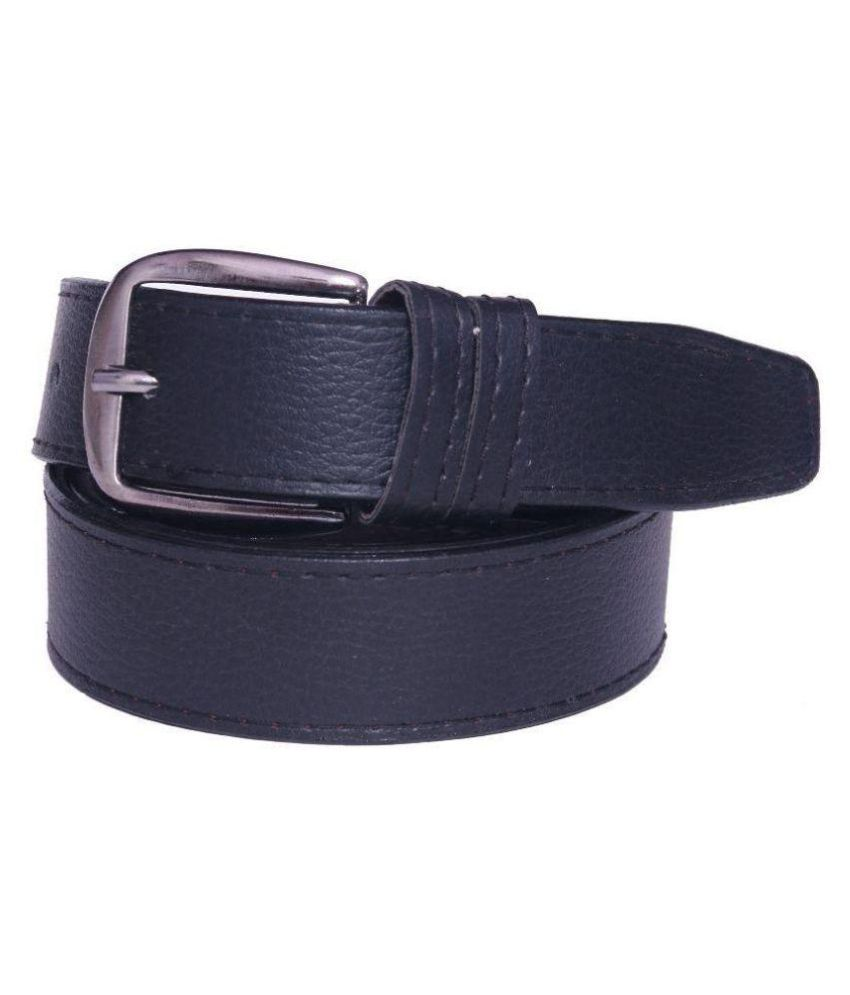 Coovs Black Faux Leather Casual Belts