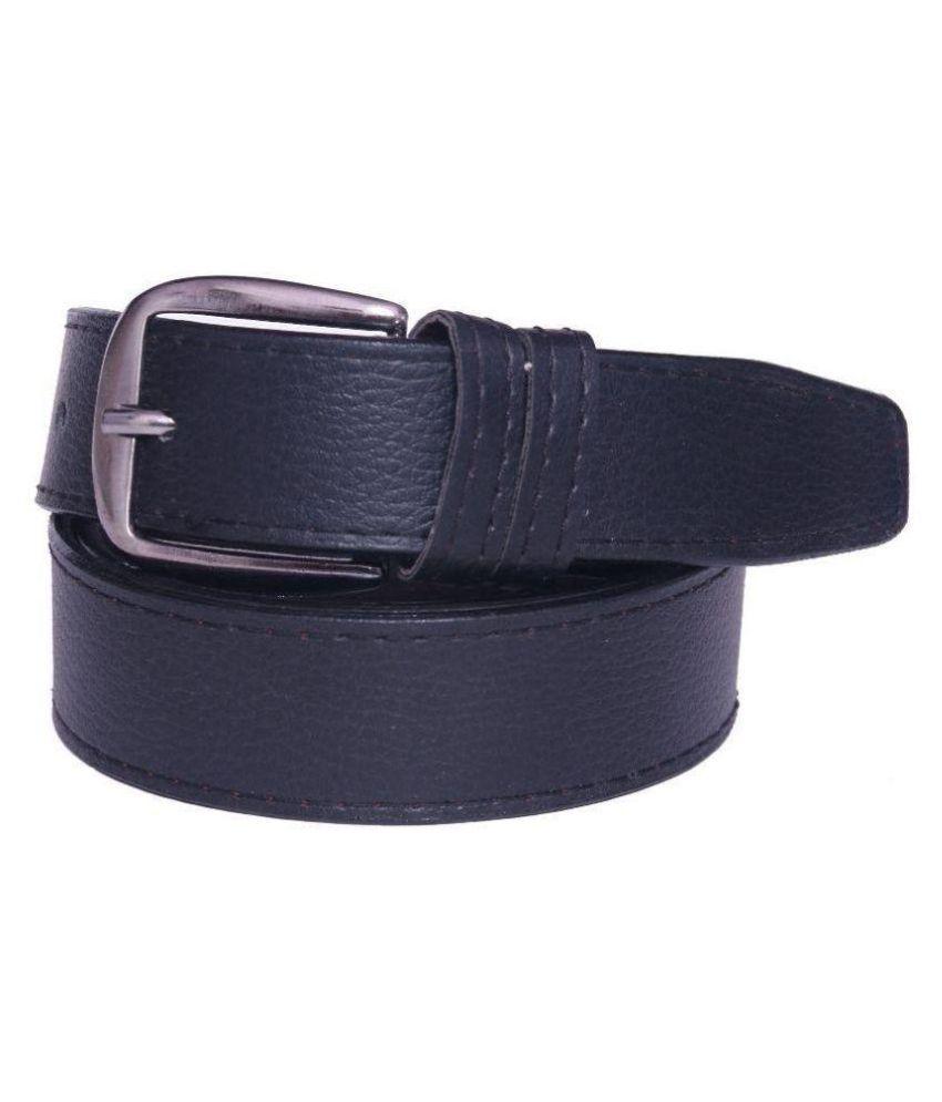 Coovs Black Faux Leather Casual Belts