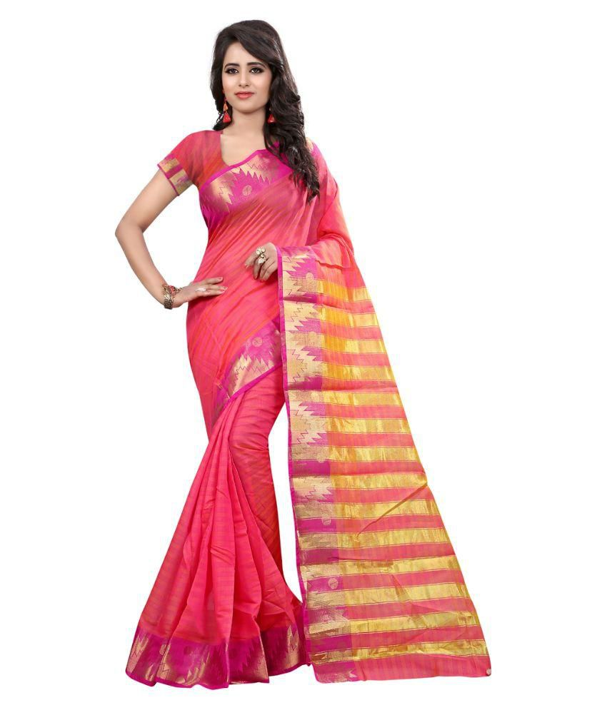 Li Te Ra Pink Cotton Saree