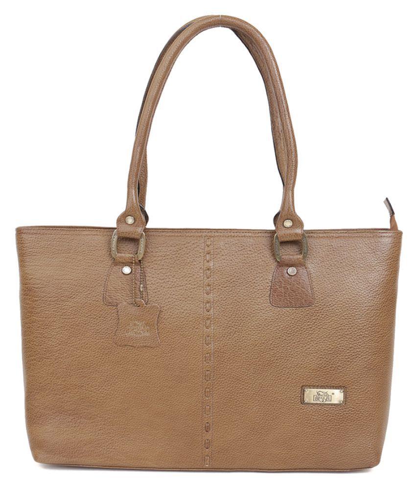 Bessel Beige Pure Leather Shoulder Bag