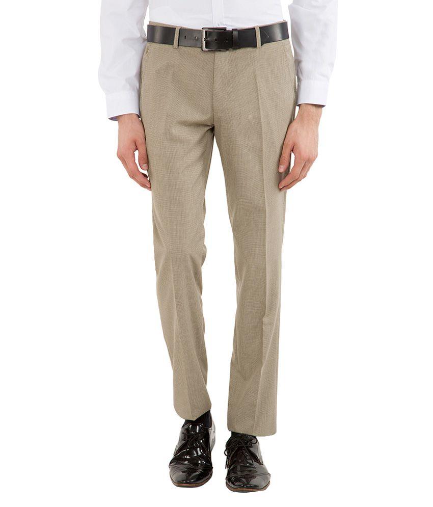 Black Coffee Beige Slim Fit Trousers