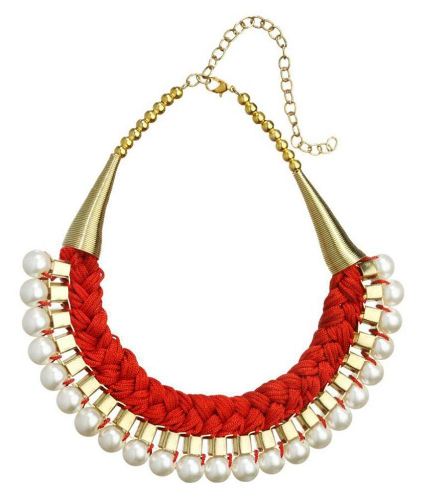 Fedexo Red Alloy Necklace