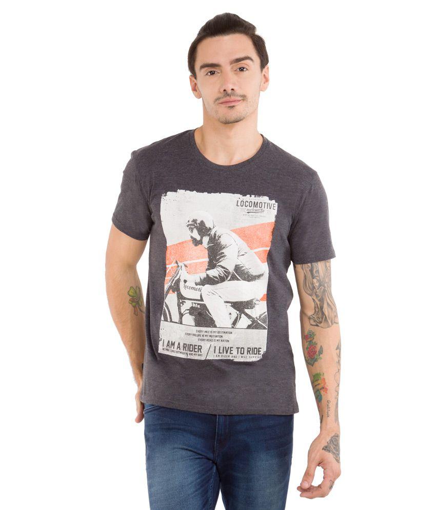 Locomotive Black Round Neck T Shirt