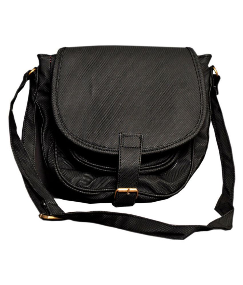 Best Deal Black Faux Leather Sling Bag