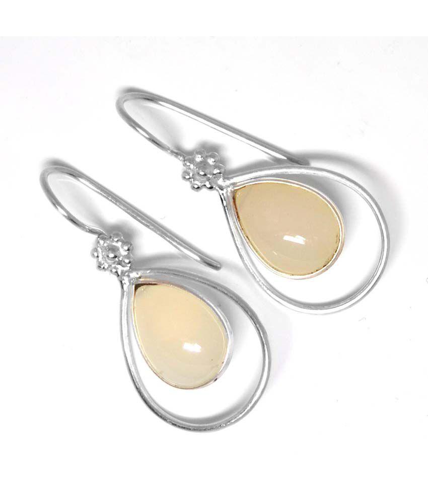 Manirathnum 92.5 Silver Chalcedony Drop Earrings