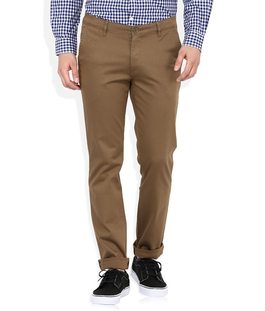 John Players Beige Slim Fit Chinos