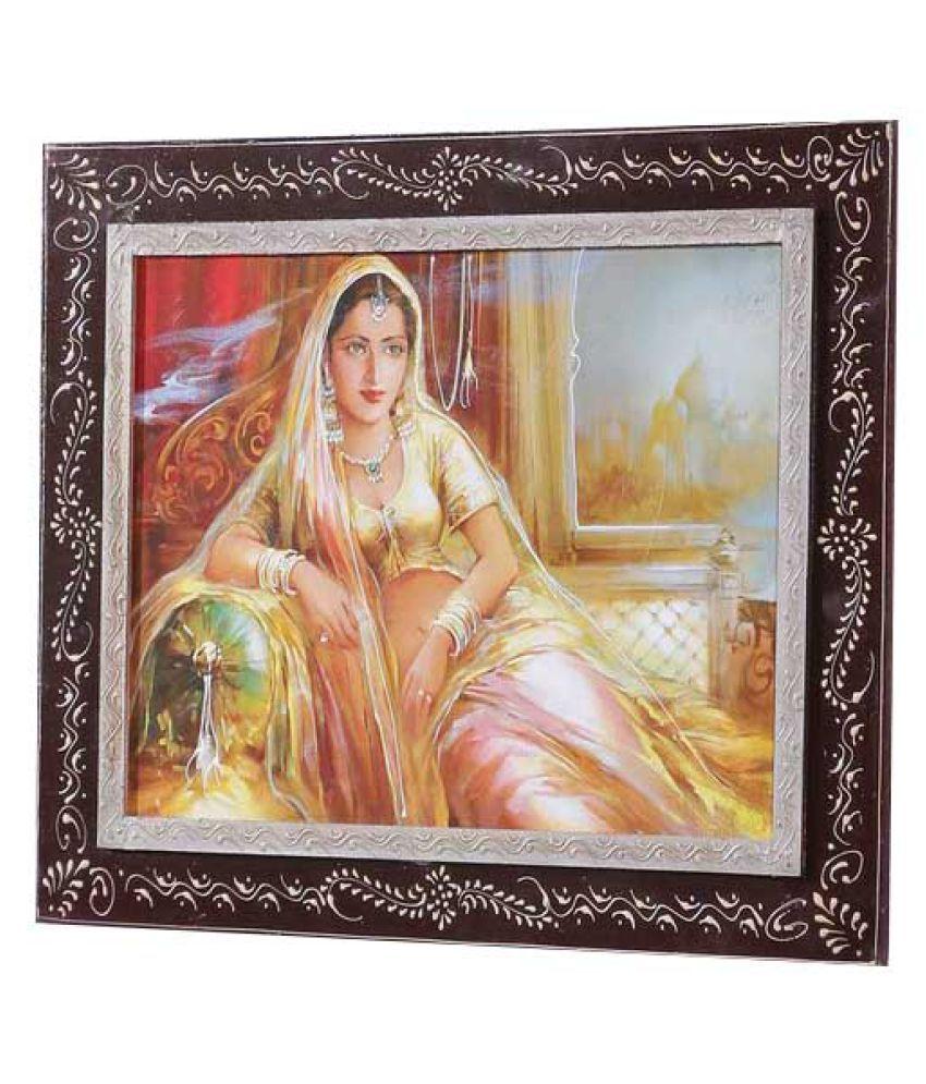 Angel Decor Rajputana Art Wood Painting With Frame Single Piece