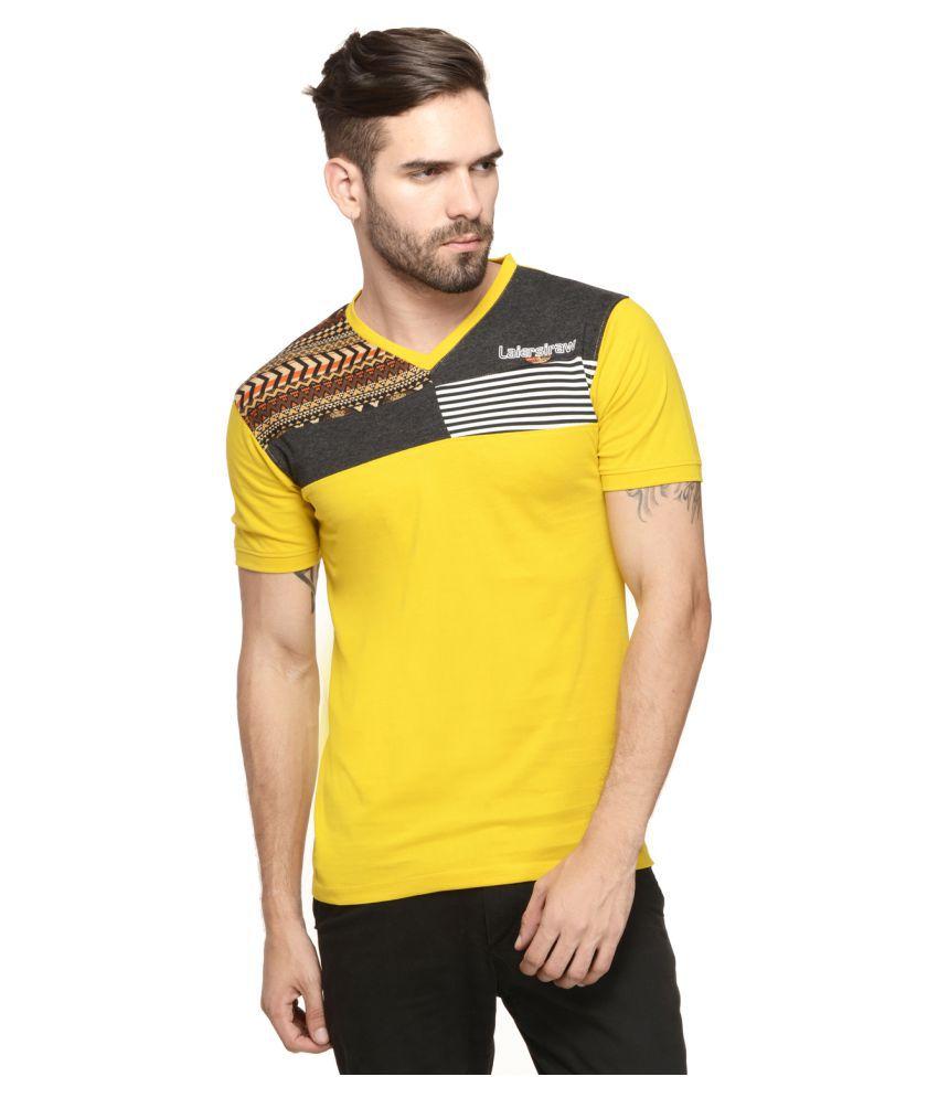 Mode Vetements Yellow V-Neck T-Shirt
