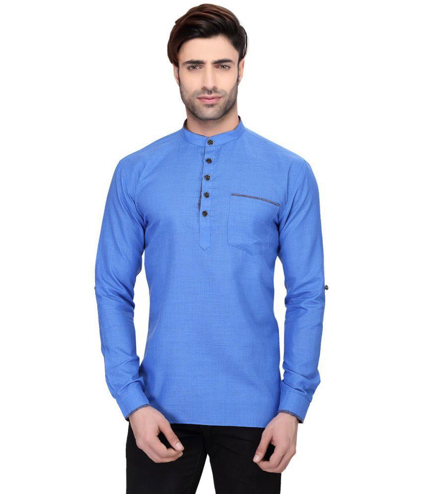 RG Designers Blue Cotton Kurta