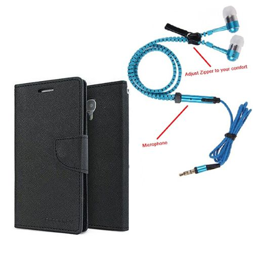 Aart Wallet Flip Case Back Cover For Lenovo K4 note-(Black) + Zipper Hands free for all Mobiles By Aart store
