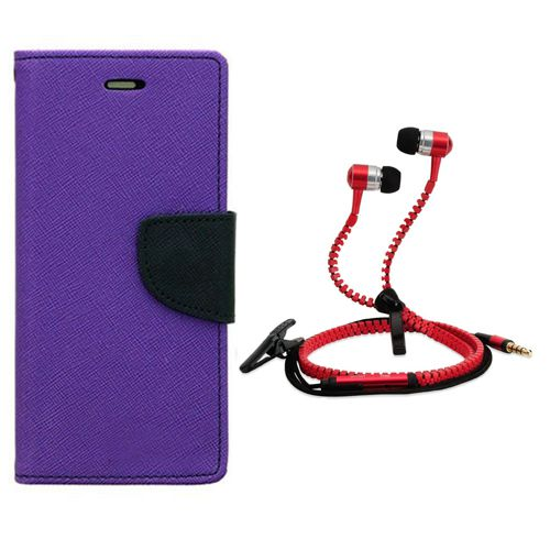 Aart Wallet Flip Case Back Cover For micromax Yureka-(Purple) + Zipper Hands free for all Mobiles By Aart store