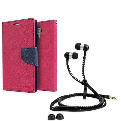 Aart Wallet Flip Case Back Cover For Sony Xperia C3-(Pink) + Zipper Hands free for all Mobiles By Aart store