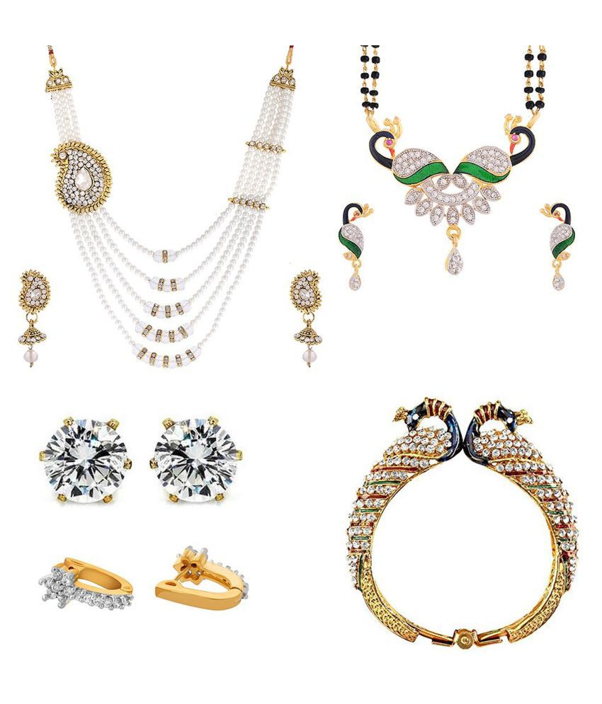 Awww Alloy Multicolour Designer Mangalsutra Set With Necklace, Earrings And Bangle