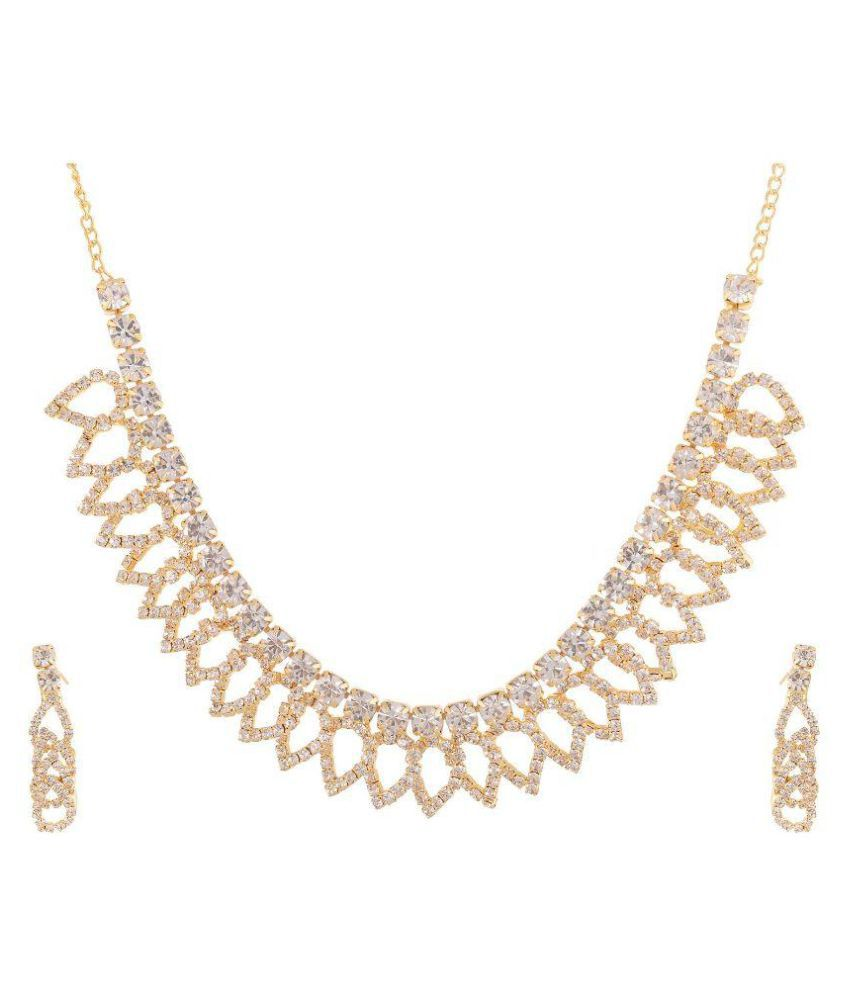 NXT Gen American Diamond Studded Golden Necklaces Set