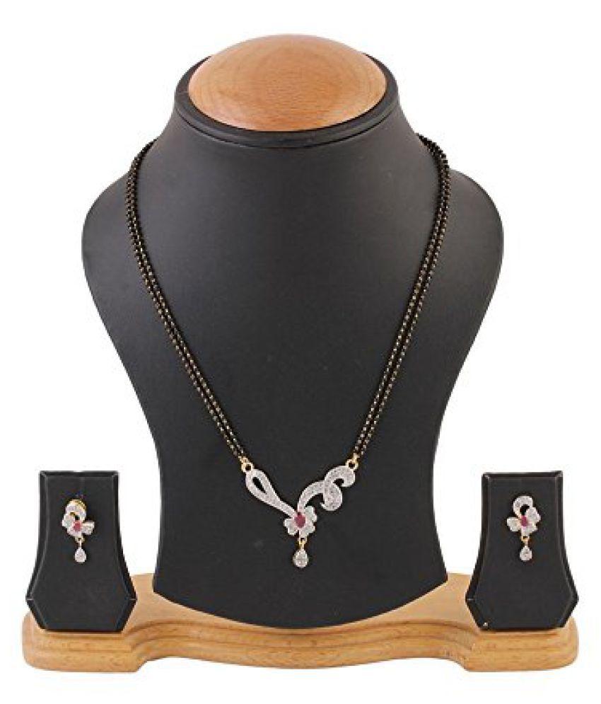 Awww Gold Plated American Diamond Studded Mangalsutra Set