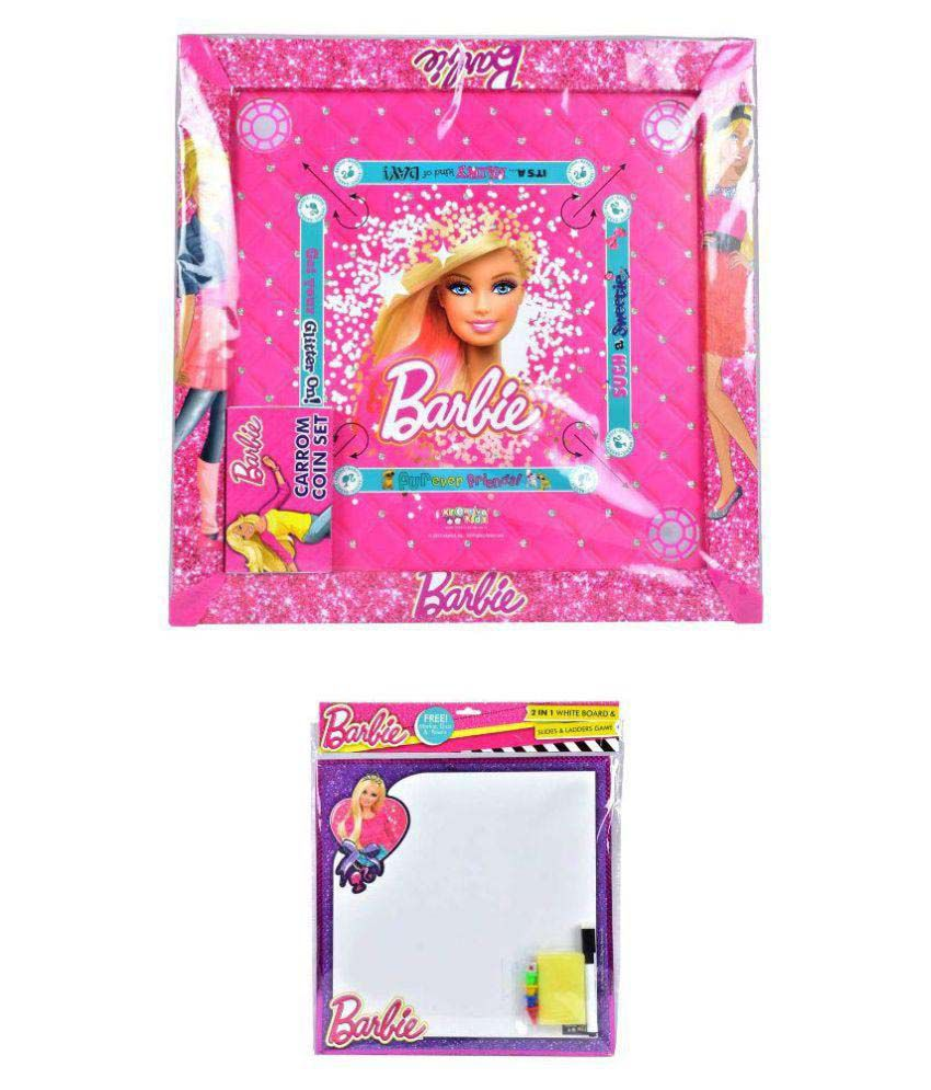 Barbie Multicolor Carrom with 2 in 1 Writing Board and Slides & Ladders Game