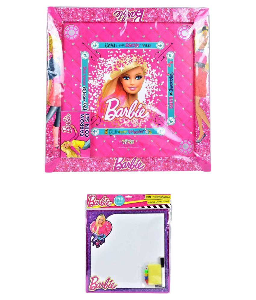 Barbie Carom Board & 2 in 1 Writing Board with Game