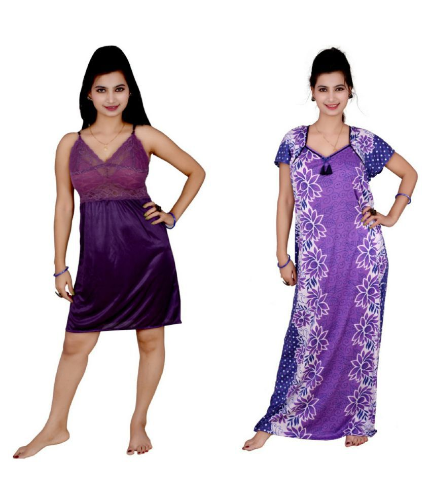 Kismat Fashion Multi Color Satin Baby Doll Dresses Without Panty