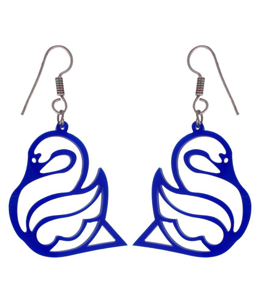 Charu Fashionz Blue Hanging Earring
