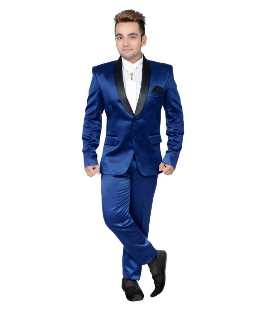 Shaurya-F Blue Solid Party 2 Piece Suits