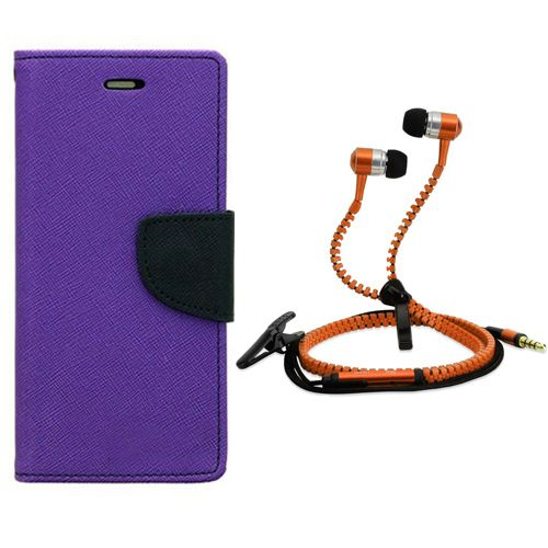Aart Wallet Flip Case Back Cover For Samsung J1-(Purple) + Zipper Hands free for all Mobiles By Aart store