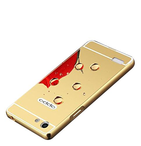 Style Crome Metal Bumper + Acrylic Mirror Back Cover Case For OppoNeo5  Gold + Flexible Portable Thumb OK Stand