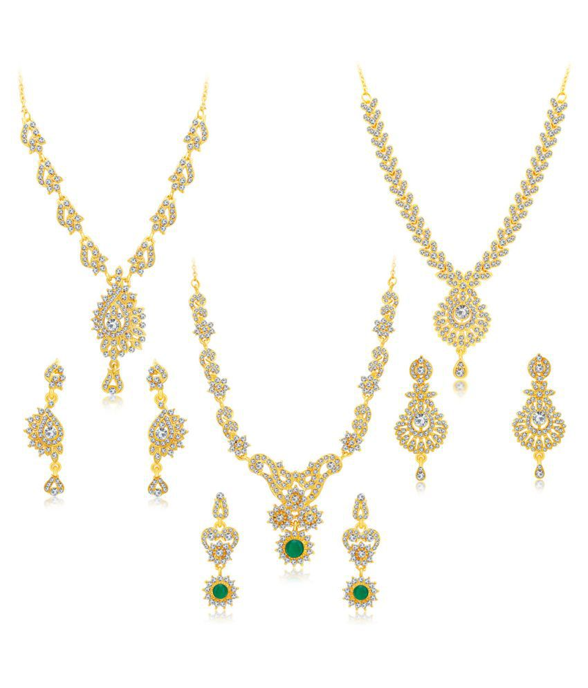 Sukkhi Golden Necklace Set - Set of 3
