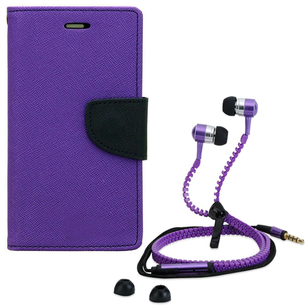 Wallet Flip Case Back Cover For Sony Xperia M2-(Purple) + Zipper Hands free for all Mobiles By StyleCrome store