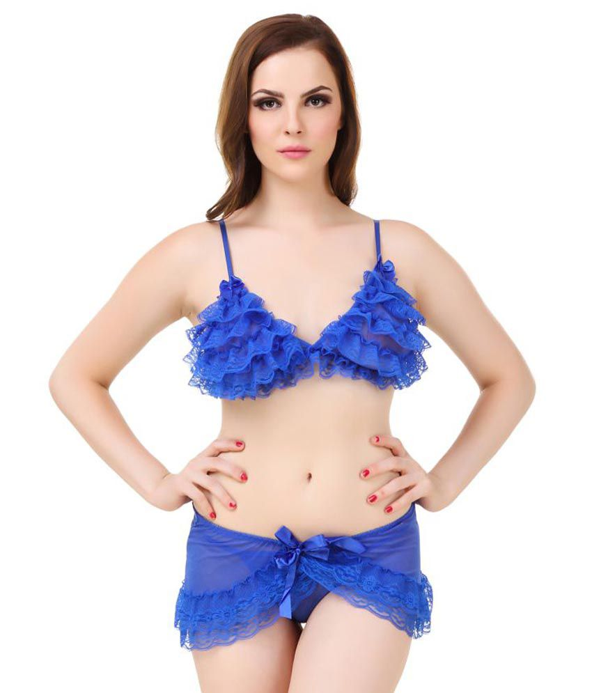 06dbd796c Buy Fasense Blue Net Bra   Panty Set Online at Best Prices in India -  Snapdeal