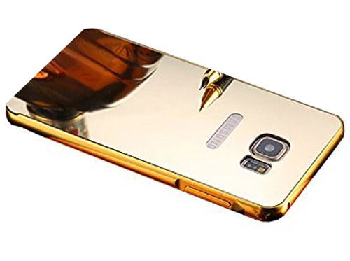 Style Crome Metal Bumper + Acrylic Mirror Back Cover Case For SamsungS7Edge  Gold + Flexible Portable Thumb OK Stand
