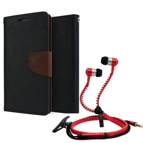 Wallet Flip Case Back Cover For Samsung 9300-(Red) + Zipper Hands free for all Mobiles By StyleCrome store