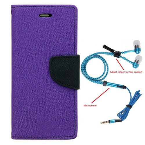 Wallet Flip Case Back Cover For Lenovo A7000-(Blue) + Zipper Hands free for all Mobiles By StyleCrome store