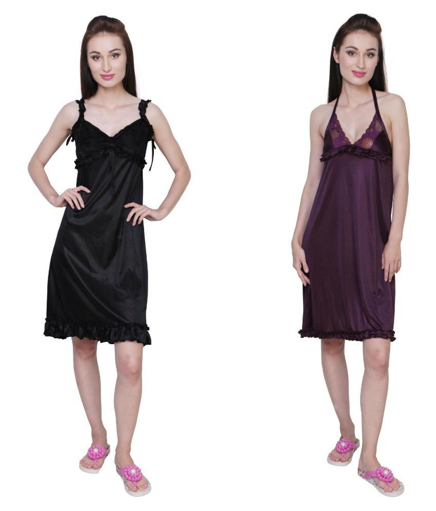 Simrit Multi Color Satin Nighty & Night Gowns