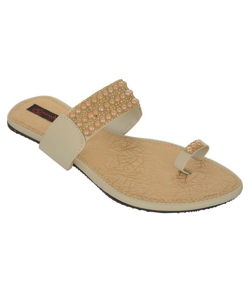 Exotique Beige Flat Ethnic Footwear