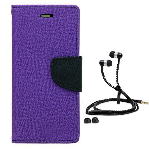 Wallet Flip Case Back Cover For Samsung ON5-(Purple) + Zipper Hands free for all Mobiles By StyleCrome store